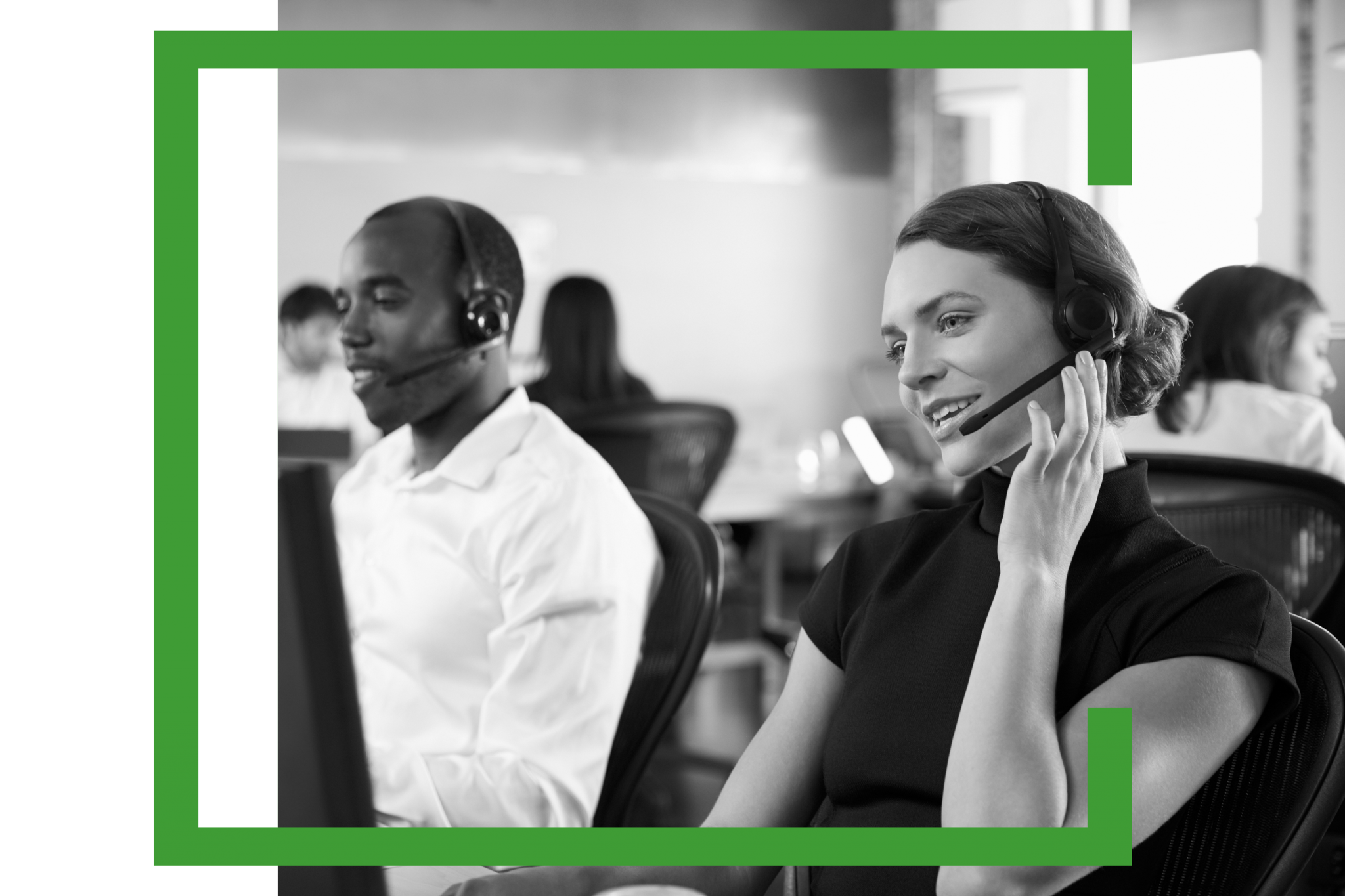 Image of woman talking to customer on headset